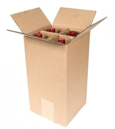 Plain Brown Single Wall Wine Carton With Dividers for 4 Wine Bottles  (WB4) - 180 x 180 x 340mm