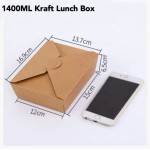 Disposable Kraft Paper Brown Lunch Box 1400ml