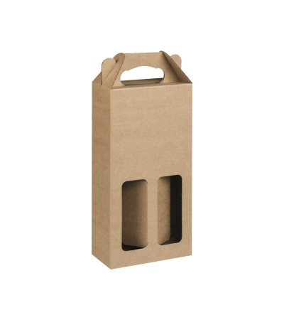 Plain Brown Single Wall Wine Carton for 2 wine bottles  (WB2)  - 185 x 85 x 340mm