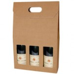 Plain Brown Single Wall Wine Carton for 3 Wine Bottles (WB3)  - 260 x 88 x 340mm