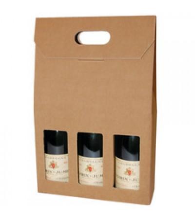 Plain Brown Single Wall Wine Carton for 3 Wine Bottles (WB3)  - 260 x 88 x 340mm
