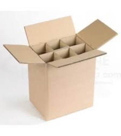 Plain Brown Single Wall Wine Carton With Dividers for 6 Wine Bottles  (WB6) - 260 x 175 x 340mm