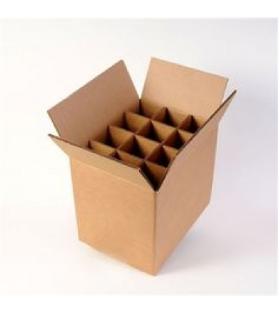 Plain Brown Double Wall Wine Carton With Dividers for 12 Wine Bottles (WB12) - 330 x 245 x 340mm